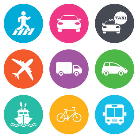 Photo for Transport icons. Car, bike, bus and taxi signs. Shipping delivery, pedestrian crossing symbols. Flat circle buttons. Vector - Royalty Free Image