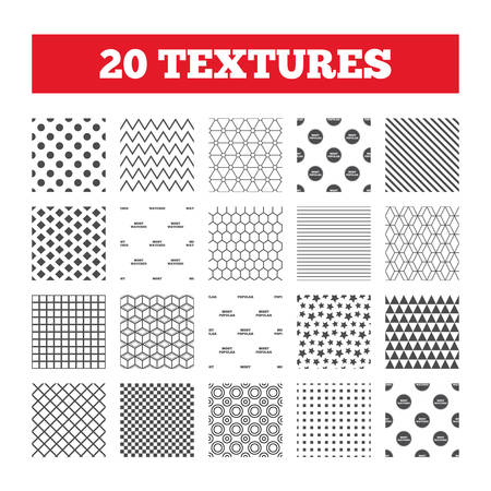 Photo pour Seamless patterns. Endless textures. Most popular star icon. Most watched symbols. Clients or users choice signs. Geometric tiles, rhombus. Vector - image libre de droit