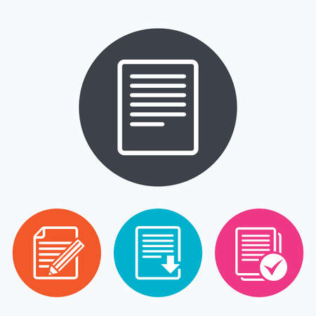 Illustration for File document icons. Download file symbol. Edit content with pencil sign. Select file with checkbox. Circle flat buttons with icon. - Royalty Free Image