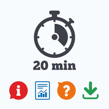 Illustration pour Timer sign icon. 20 minutes stopwatch symbol. Information think bubble, question mark, download and report. - image libre de droit