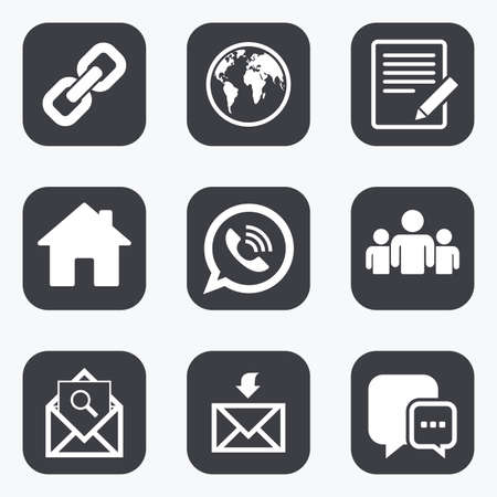 Ilustración de Communication icons. Contact, mail signs. E-mail, call phone and group symbols. Flat square buttons with rounded corners. - Imagen libre de derechos