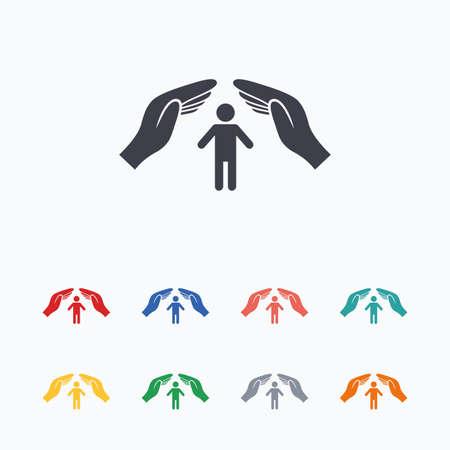 Ilustración de Human life insurance sign icon. Hands protect man symbol. Health insurance. Colored flat icons on white background. - Imagen libre de derechos