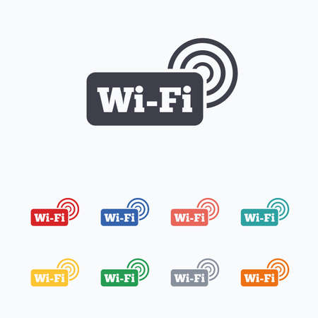 Illustration pour Free wifi sign. Wifi symbol. Wireless Network icon. Wifi zone. Colored flat icons on white background. - image libre de droit