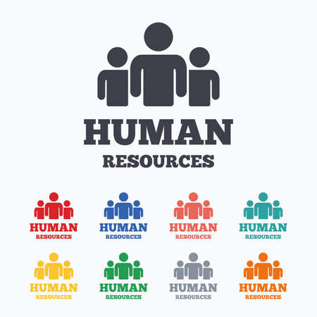 Illustration pour Human resources sign icon. HR symbol. Workforce of business organization. Group of people. Colored flat icons on white background. - image libre de droit