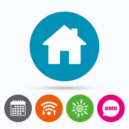 Ilustración de Wifi, Sms and calendar icons. Home sign icon. Main page button. Navigation symbol. Go to web globe. - Imagen libre de derechos