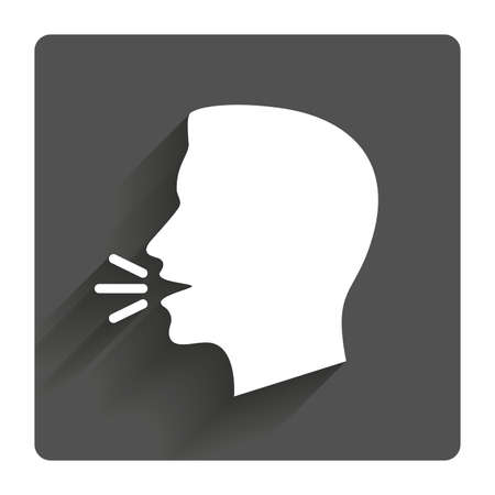 Ilustración de Talk or speak icon. Loud noise symbol. Human talking sign. Gray flat square button with shadow. Modern UI website navigation. - Imagen libre de derechos