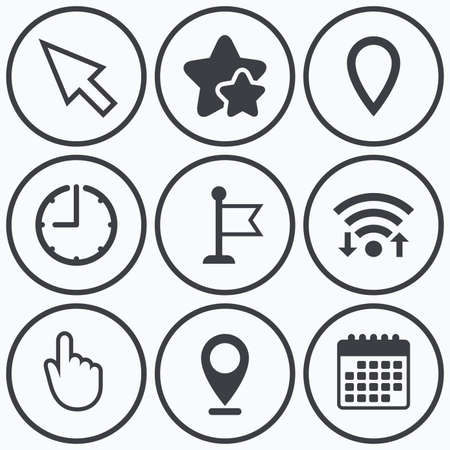 Illustration pour Clock, wifi and stars icons. Mouse cursor icon. Hand or Flag pointer symbols. Map location marker sign. Calendar symbol. - image libre de droit