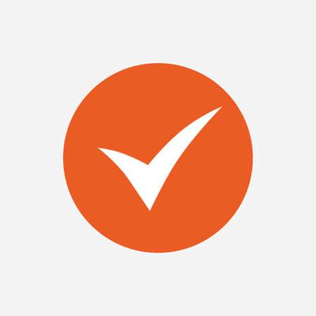 Illustration pour Check sign icon. Yes symbol. Confirm. Orange circle button with icon. Vector - image libre de droit