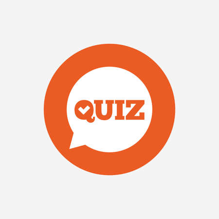 Illustration pour Quiz check in speech bubble sign icon. Questions and answers game symbol. Orange circle button with icon. Vector - image libre de droit