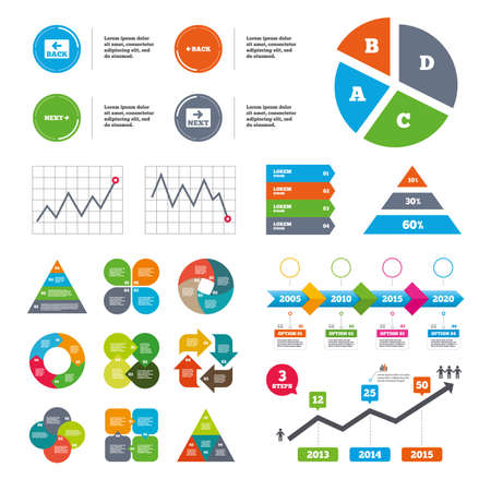 Illustration pour Data pie chart and graphs. Back and next navigation signs. Arrow direction icons. Presentations diagrams. Vector - image libre de droit