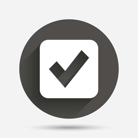 Illustration pour Check mark sign icon. Checkbox button. Circle flat button with shadow. Vector - image libre de droit