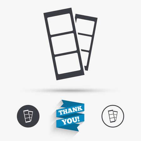 Ilustración de Photo booth strips sign icon. Photo frame template symbol. Flat icons. Buttons with icons. Thank you ribbon. Vector - Imagen libre de derechos