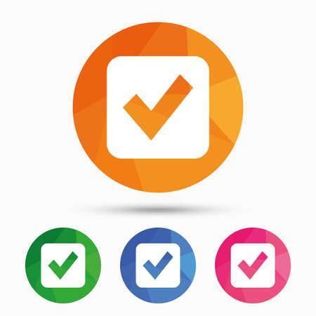 Illustration pour Check mark sign icon. Checkbox button. Triangular low poly button with flat icon. Vector - image libre de droit