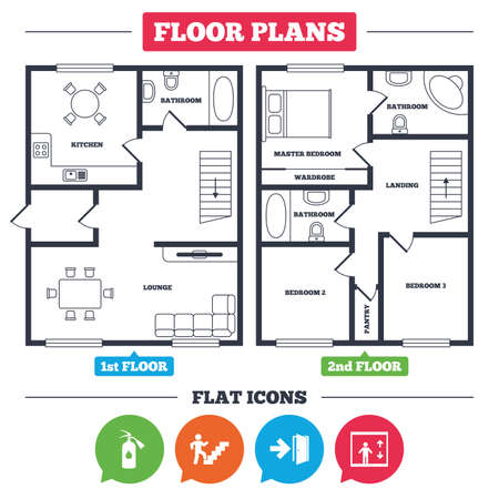 Illustration pour Architecture plan with furniture. House floor plan. Emergency exit icons. Fire extinguisher sign. Elevator or lift symbol. Fire exit through the stairwell. Kitchen, lounge and bathroom. Vector - image libre de droit