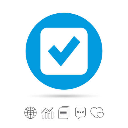 Illustration pour Check mark sign icon. Checkbox button. Copy files, chat speech bubble and chart web icons. - image libre de droit