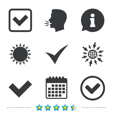 Illustration pour Check icons. Checkbox confirm circle sign symbols. Information, go to web and calendar icons. Sun and loud speak symbol. Vector - image libre de droit