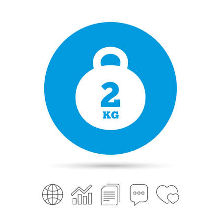 Illustration for Weight sign icon. 2 kilogram (kg). Envelope mail weight. Copy files, chat speech bubble and chart web icons. Vector - Royalty Free Image