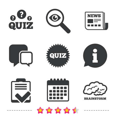 Illustration pour Quiz icons. Brainstorm or human think. Checklist symbol. Survey poll or questionnaire feedback form. Questions and answers game sign. Newspaper, information and calendar icons. Vector - image libre de droit