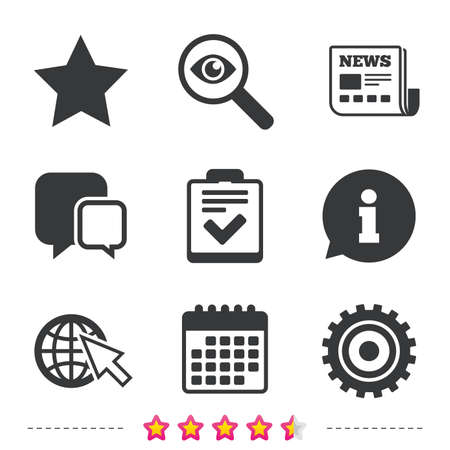 Illustration pour Star favorite and globe with mouse cursor icons. Checklist and cogwheel gear sign symbols. Newspaper, information and calendar icons. Investigate magnifier, chat symbol. Vector - image libre de droit