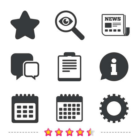 Illustration pour Calendar and Star favorite icons. Checklist and cogwheel gear sign symbols. Newspaper, information and calendar icons. Investigate magnifier, chat symbol. Vector - image libre de droit