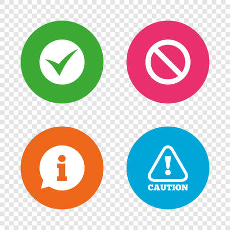 Illustration pour Information icons. Stop prohibition and attention caution signs. Approved check mark symbol. Round buttons on transparent background. Vector - image libre de droit