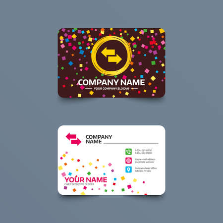 Illustration pour Business card template with confetti pieces. Incoming and outgoing calls sign. Upload. Download arrow symbol. Phone, web and location icons. Visiting card  Vector - image libre de droit