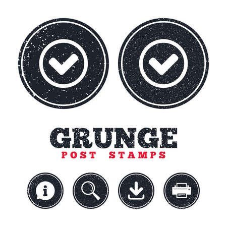 Illustration pour Grunge post stamps. Check mark sign icon. Yes circle symbol. Confirm approved. Information, download and printer signs. Aged texture web buttons. Vector - image libre de droit