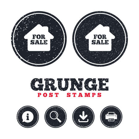 Illustration pour Grunge post stamps. For sale sign icon. Real estate selling. Information, download and printer signs. Aged texture web buttons. Vector - image libre de droit