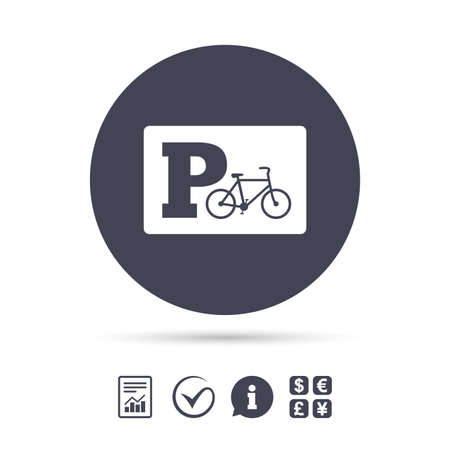 Illustration pour Parking sign icon. Bicycle parking symbol. Report document, information and check tick icons. Currency exchange. Vector - image libre de droit
