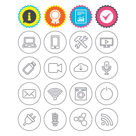 Illustration pour Report, information and award signs. Devices and technologies icons. Notebook, smartphone and wi-fi symbols. Usb flash, video camera, microphone thin outline signs. Vector - image libre de droit