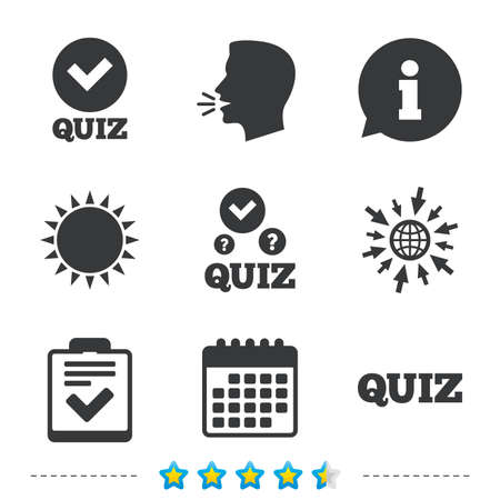 Illustration pour Quiz icons. Checklist with check mark symbol. Survey poll or questionnaire feedback form sign. Information, go to web and calendar icons. Sun and loud speak symbol. Vector - image libre de droit