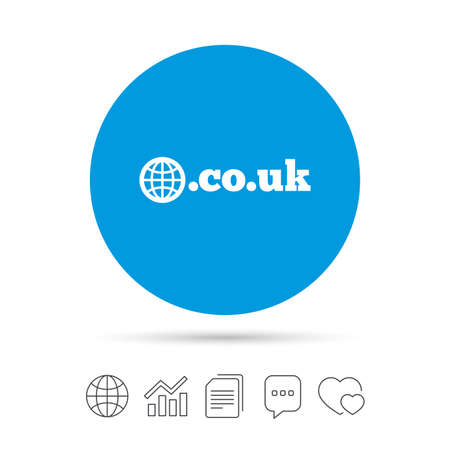 Illustration for Domain CO.UK sign icon. UK internet subdomain symbol with globe. Copy files, chat speech bubble and chart web icons. Vector - Royalty Free Image
