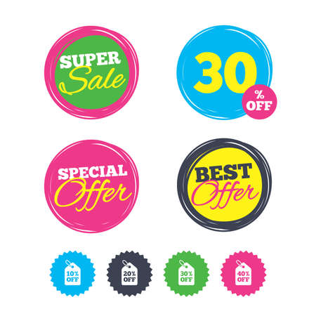 Illustration for Super sale and best offer stickers. Sale price tag icons. Discount special offer symbols. 10%, 20%, 30% and 40% percent off signs. Shopping labels. Vector - Royalty Free Image