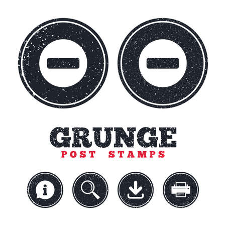 Illustration pour Grunge post stamps. Stop sign icon. Prohibition symbol. No sign. Information, download and printer signs. Aged texture web buttons. Vector - image libre de droit