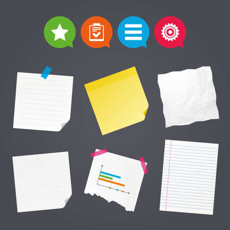 Illustration pour Business paper banners with notes. Star favorite and menu list icons. Checklist and cogwheel gear sign symbols. Sticky colorful tape. Speech bubbles with icons. Vector - image libre de droit