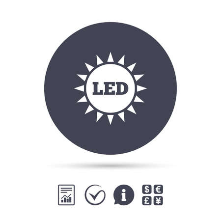Illustration pour Led light sun icon. Energy symbol. Report document, information and check tick icons. Currency exchange. Vector - image libre de droit