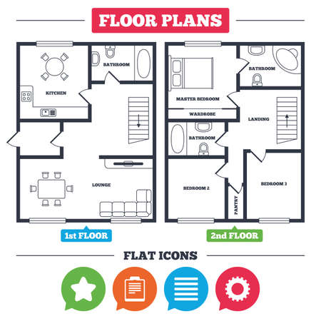 Illustration pour Architecture plan with furniture. House floor plan. Star favorite and menu list icons. Checklist and cogwheel gear sign symbols. Kitchen, lounge and bathroom. Vector - image libre de droit