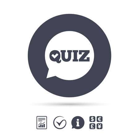 Illustration pour Quiz check in speech bubble sign icon. Questions and answers game symbol. Report document, information and check tick icons. Currency exchange. Vector - image libre de droit