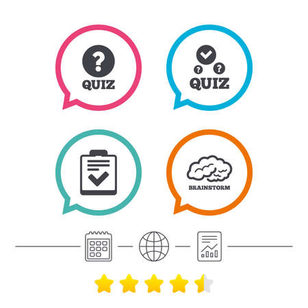 Illustration pour Quiz icons. Human brain think. Checklist with check mark symbol. Survey poll or questionnaire feedback form sign. Calendar, internet globe and report linear icons. Star vote ranking. Vector - image libre de droit