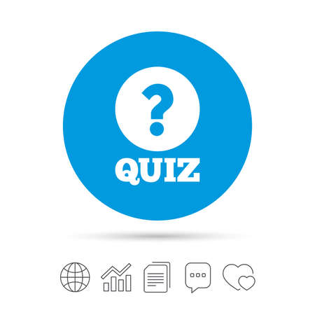 Illustration pour Quiz with question mark sign icon. Questions and answers game symbol. Copy files, chat speech bubble and chart web icons. Vector - image libre de droit
