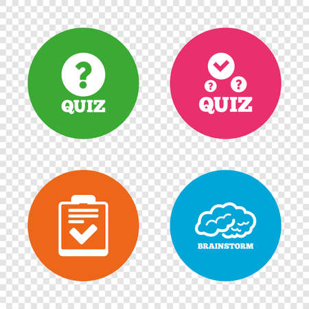 Illustration pour Quiz icons. Human brain think. Checklist with check mark symbol. Survey poll or questionnaire feedback form sign. Round buttons on transparent background. Vector - image libre de droit