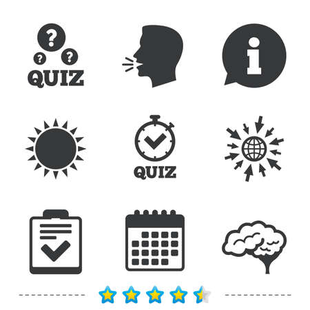 Illustration pour Quiz icons. Human brain think. Checklist and stopwatch timer symbol. Survey poll or questionnaire feedback form sign. Information, go to web and calendar icons. Sun and loud speak symbol. Vector - image libre de droit