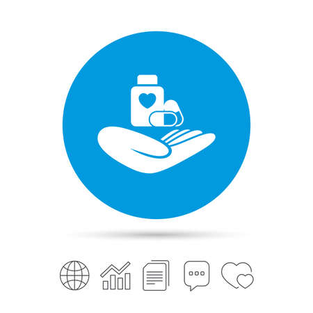 Illustration pour Medical insurance sign icon. Health insurance. Pills bottle symbol. Copy files, chat speech bubble and chart web icons. Vector - image libre de droit