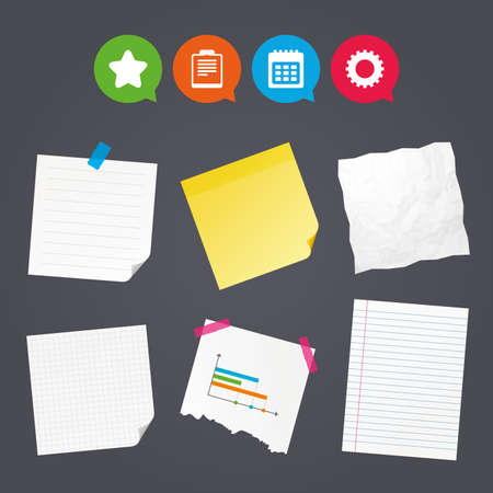 Illustration pour Business paper banners with notes. Calendar and Star favorite icons. Checklist and cogwheel gear sign symbols. Sticky colorful tape. Speech bubbles with icons. Vector. - image libre de droit