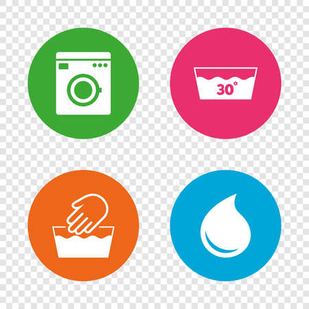 Illustration for Hand wash icon. Machine washable at 30 degrees symbols. Laundry washhouse and water drop signs. Round buttons on transparent background. Vector - Royalty Free Image