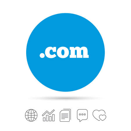 Ilustración de Domain COM sign icon. Top-level internet domain symbol. Copy files, chat speech bubble and chart web icons. Vector - Imagen libre de derechos
