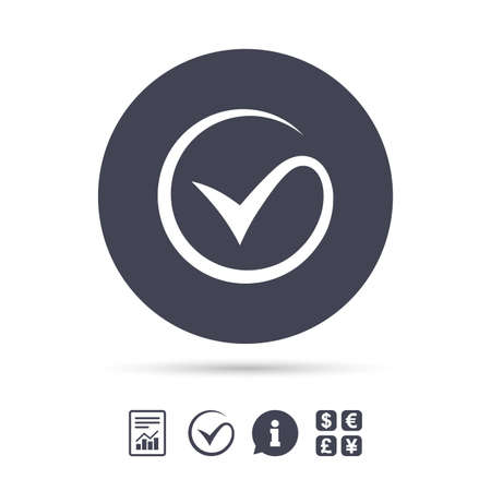 Illustration pour Tick sign icon. Check mark symbol. Report document, information and check tick icons. Currency exchange. Vector - image libre de droit