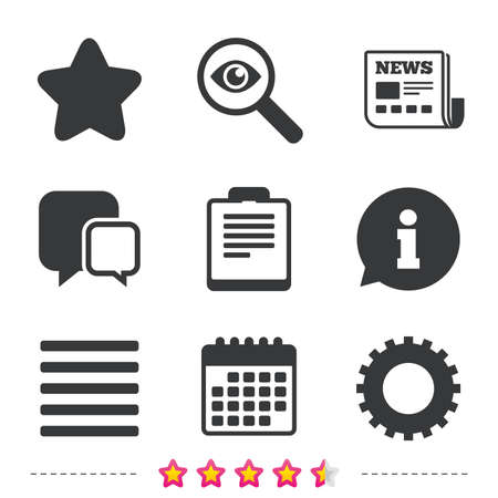 Illustration pour Star favorite and menu list icons. Checklist and cogwheel gear sign symbols. Newspaper, information and calendar icons. Investigate magnifier, chat symbol. Vector - image libre de droit