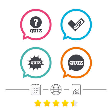Illustration pour Quiz icons. Speech bubble with check mark symbol. Explosion boom sign. Calendar, internet globe and report linear icons. Star vote ranking. Vector - image libre de droit