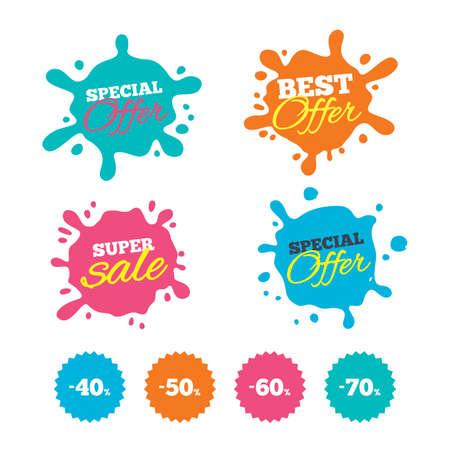 Ilustración de Best offer and sale splash banners. Sale discount icons. Special offer price signs. 40, 50, 60 and 70 percent off reduction symbols. Web shopping labels. Vector - Imagen libre de derechos